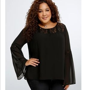Torrid lace inset chiffon blouse, black, size 4 4X